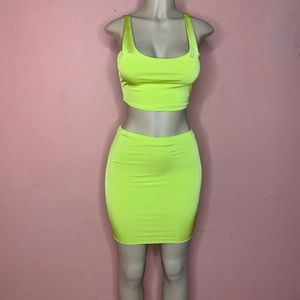 "Dresses & Skirts - Neon Skirt and crop top set ""Lime Juice"""